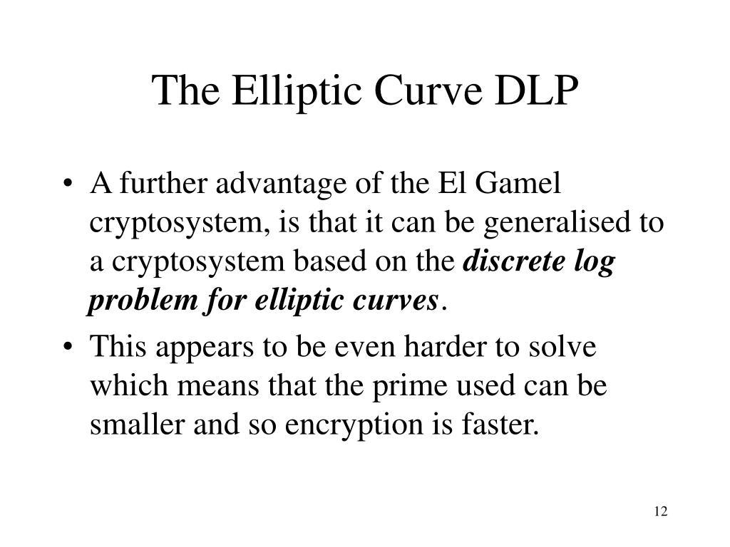 The Elliptic Curve DLP