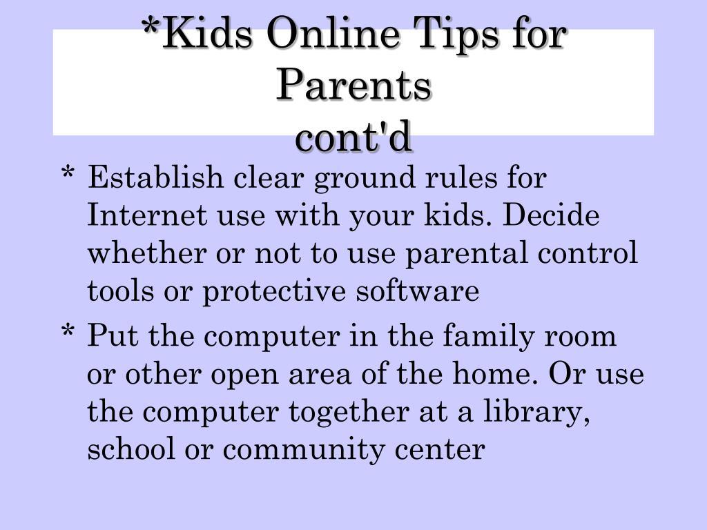 Kids Online Tips for Parents