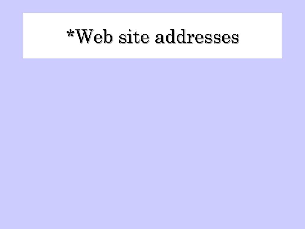 Web site addresses