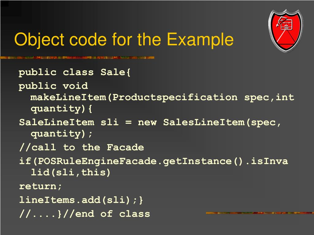 Object code for the Example