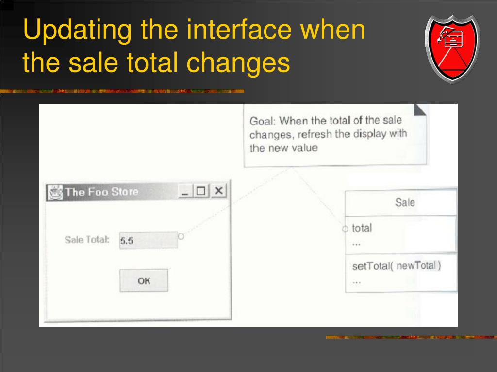 Updating the interface when the sale total changes