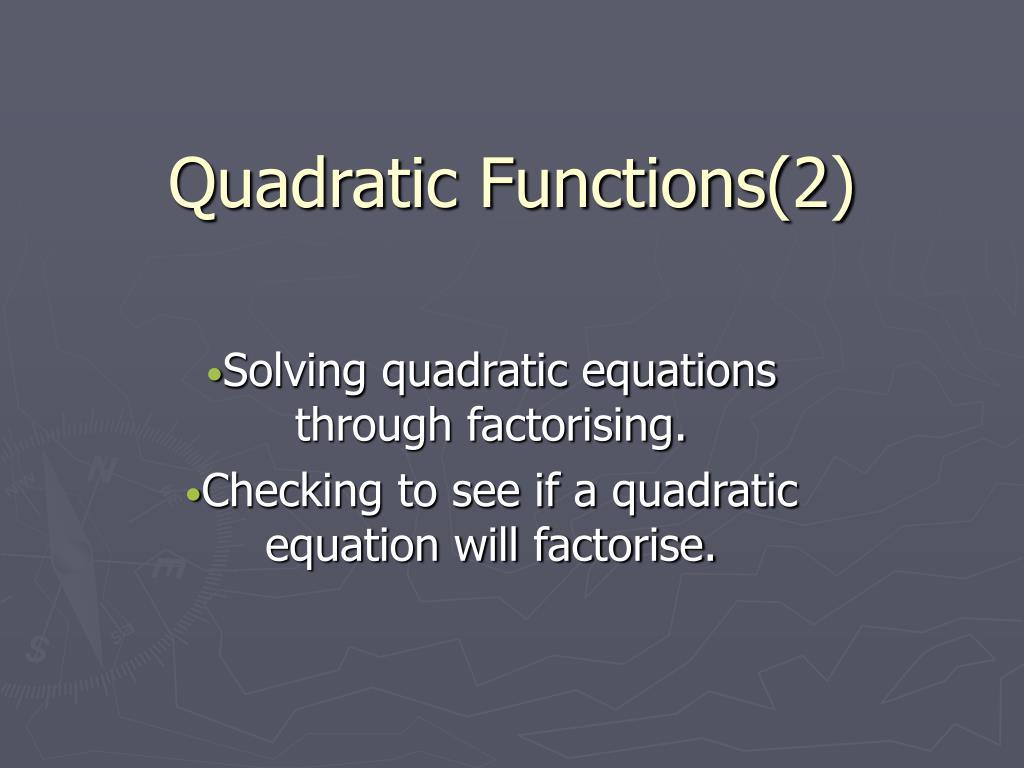 Quadratic Functions(2)