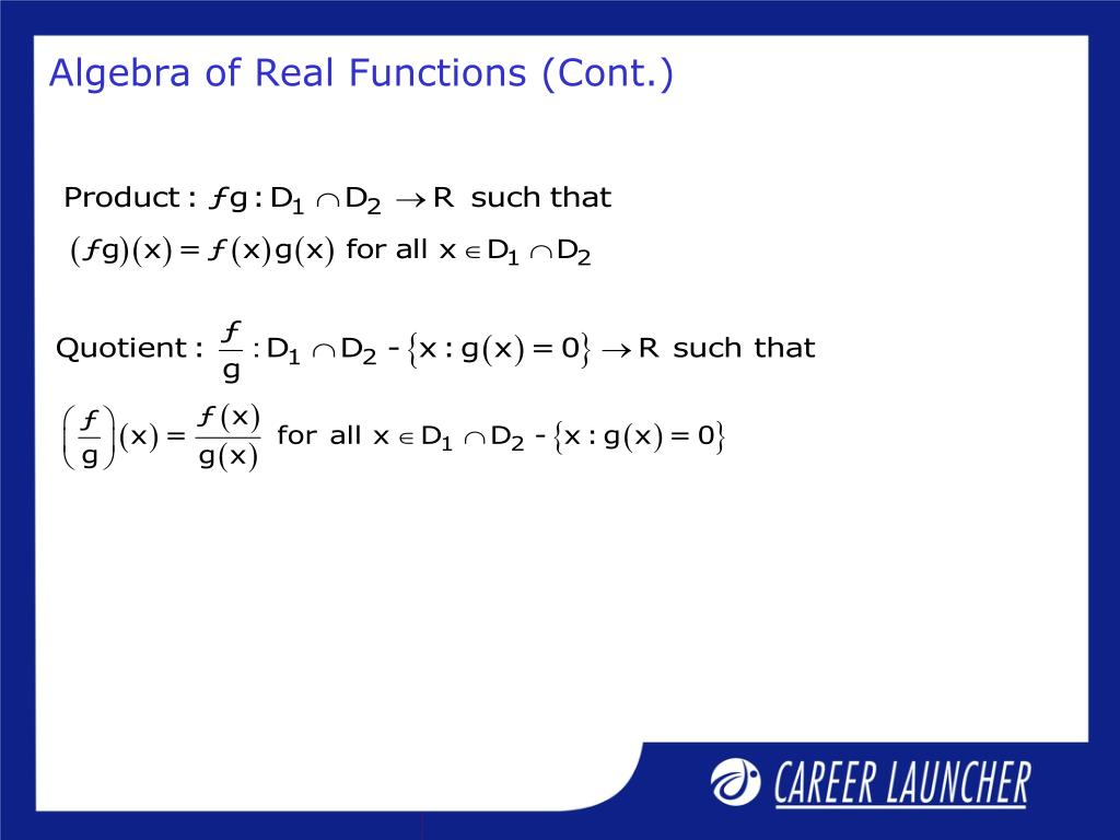 Algebra of Real Functions (Cont.)