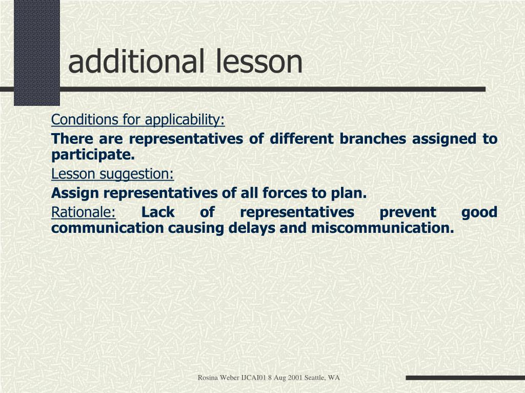 additional lesson