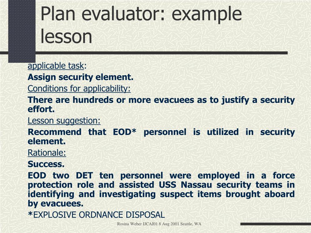 Plan evaluator: example lesson