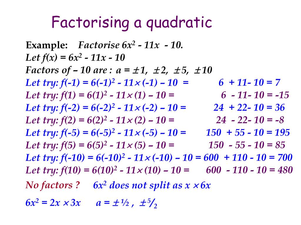 Factorising a quadratic