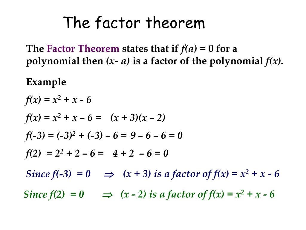 The factor theorem