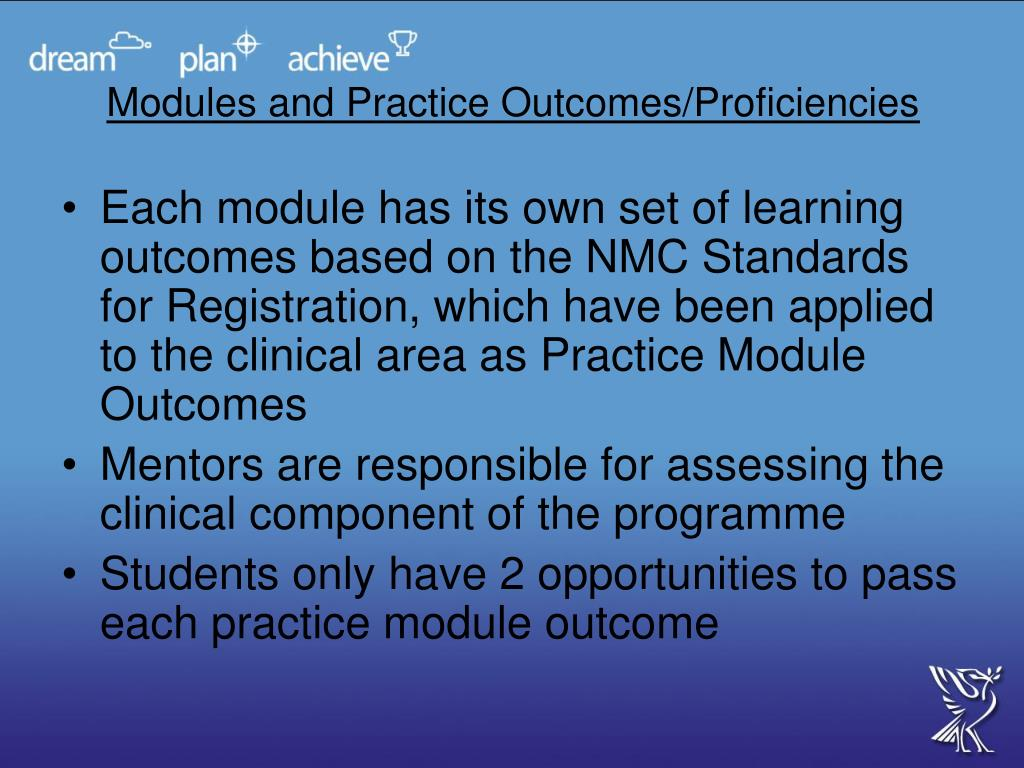 Modules and Practice Outcomes/Proficiencies