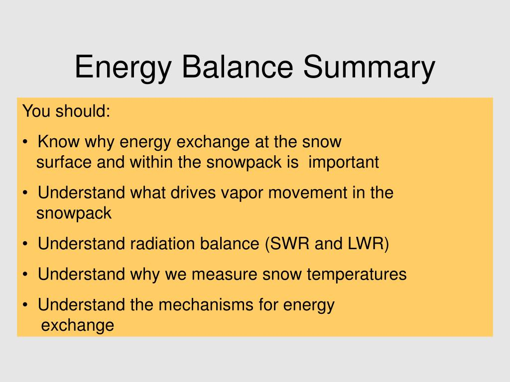Energy Balance Summary