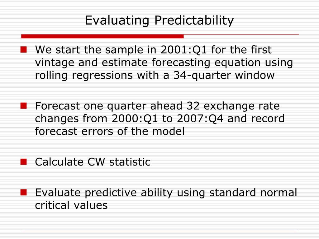 Evaluating Predictability