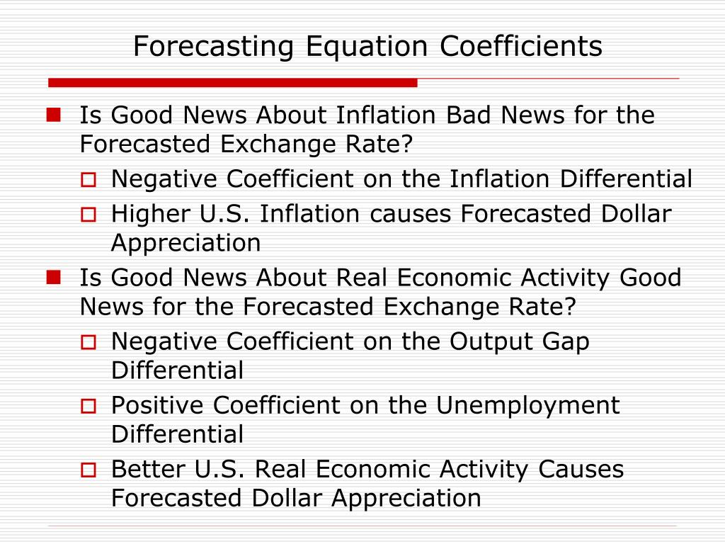 Forecasting Equation Coefficients