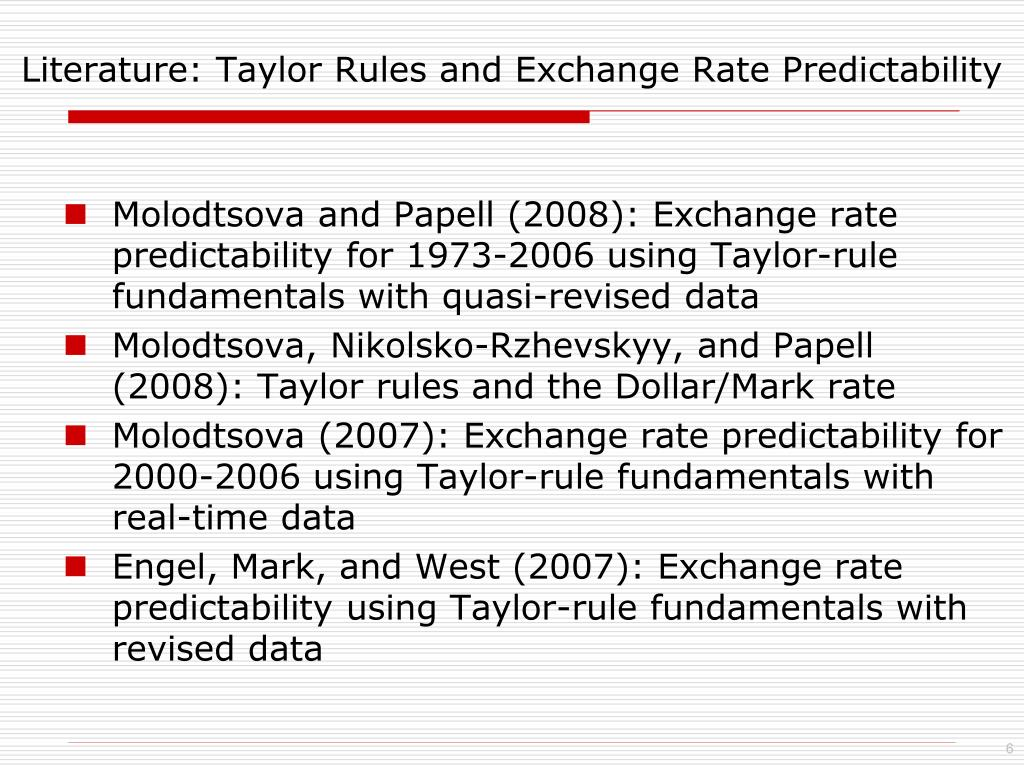 Literature: Taylor Rules and Exchange Rate Predictability