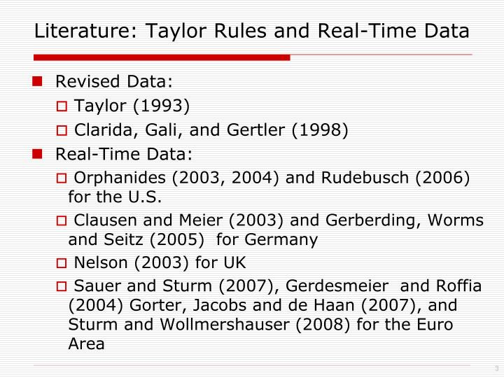 Literature taylor rules and real time data