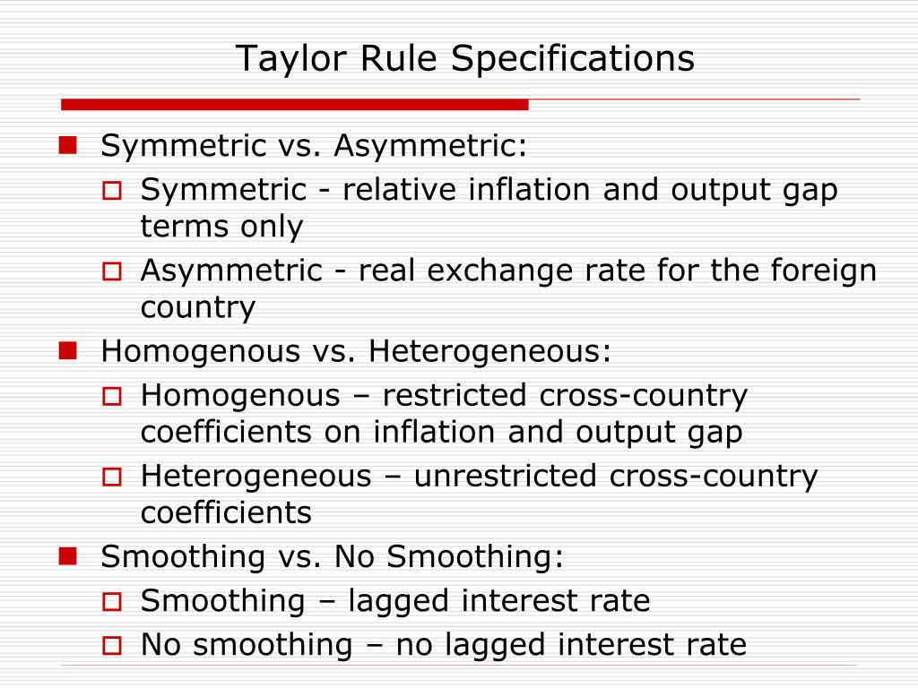 Taylor Rule Specifications