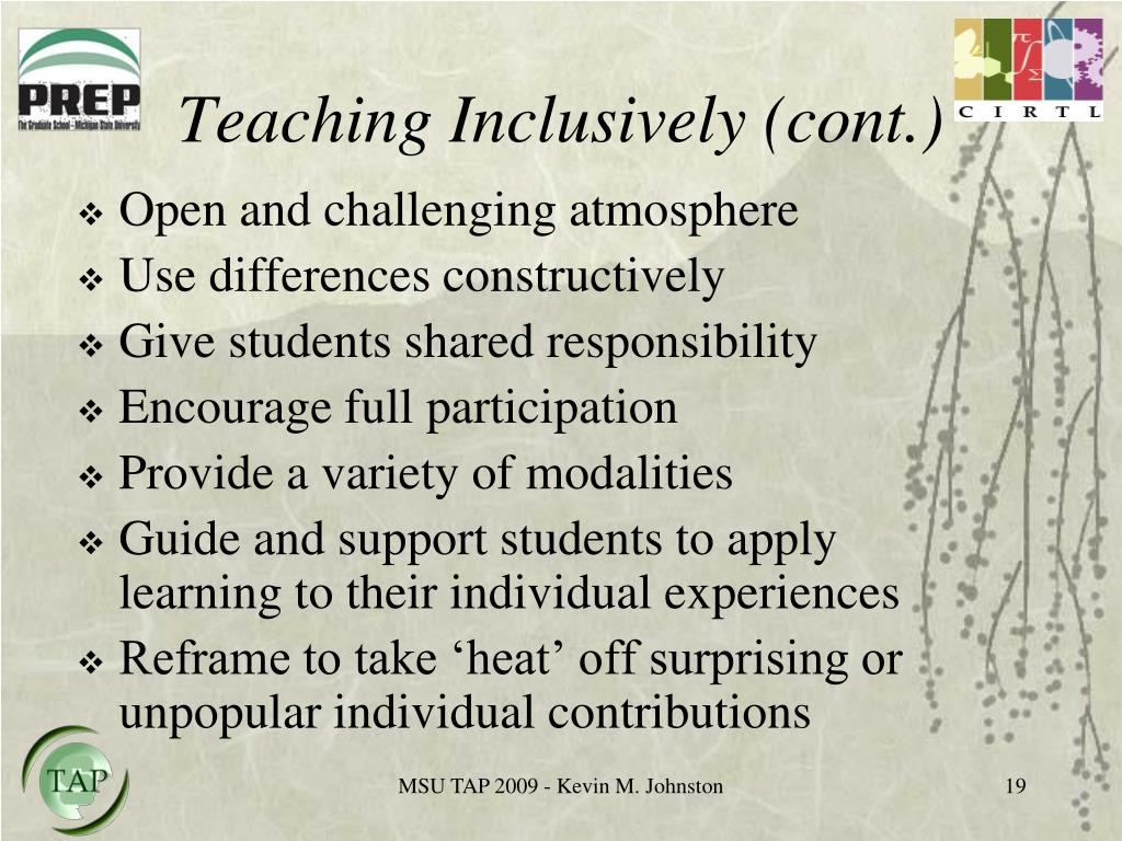 Teaching Inclusively (cont.)