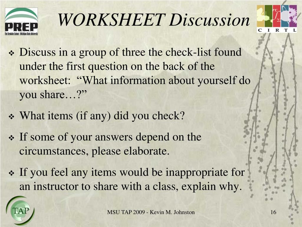WORKSHEET Discussion