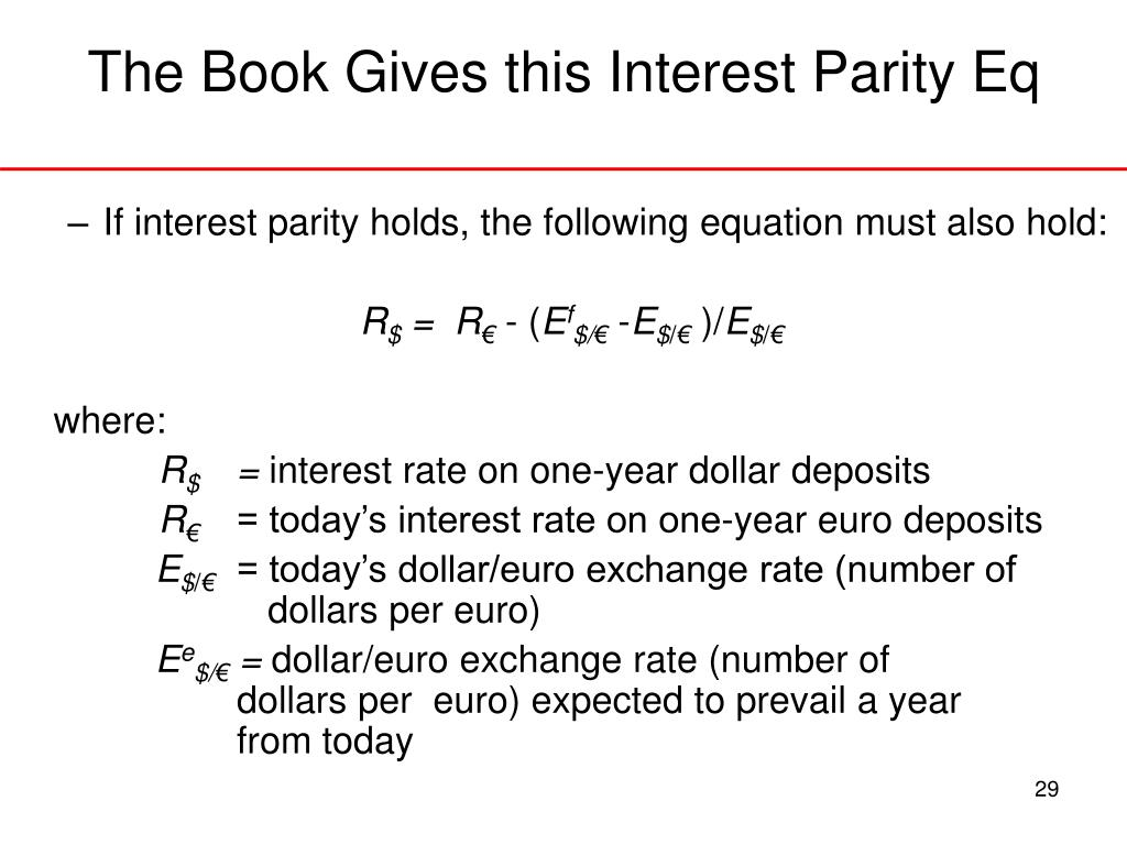 The Book Gives this Interest Parity Eq