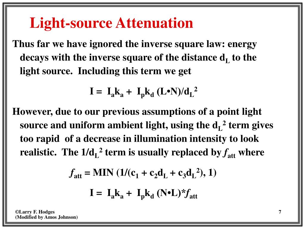 Thus far we have ignored the inverse square law: energy decays with the inverse square of the distance d