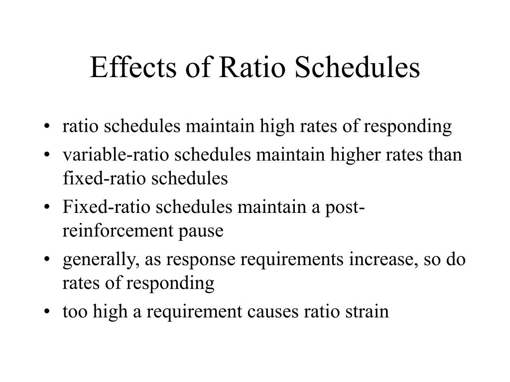 Effects of Ratio Schedules