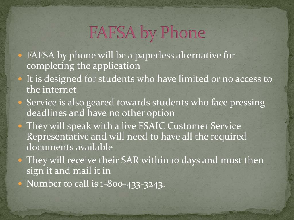 FAFSA by Phone