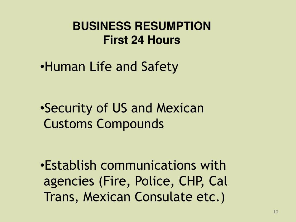 BUSINESS RESUMPTION