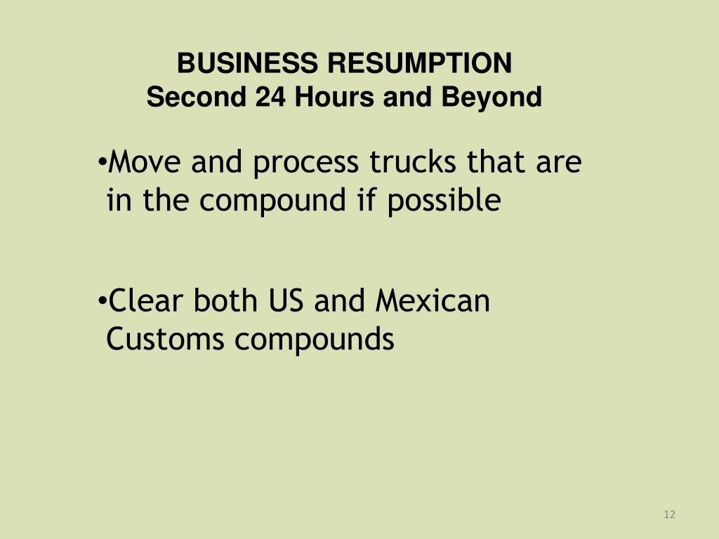 BUSINESS RESUMPTION