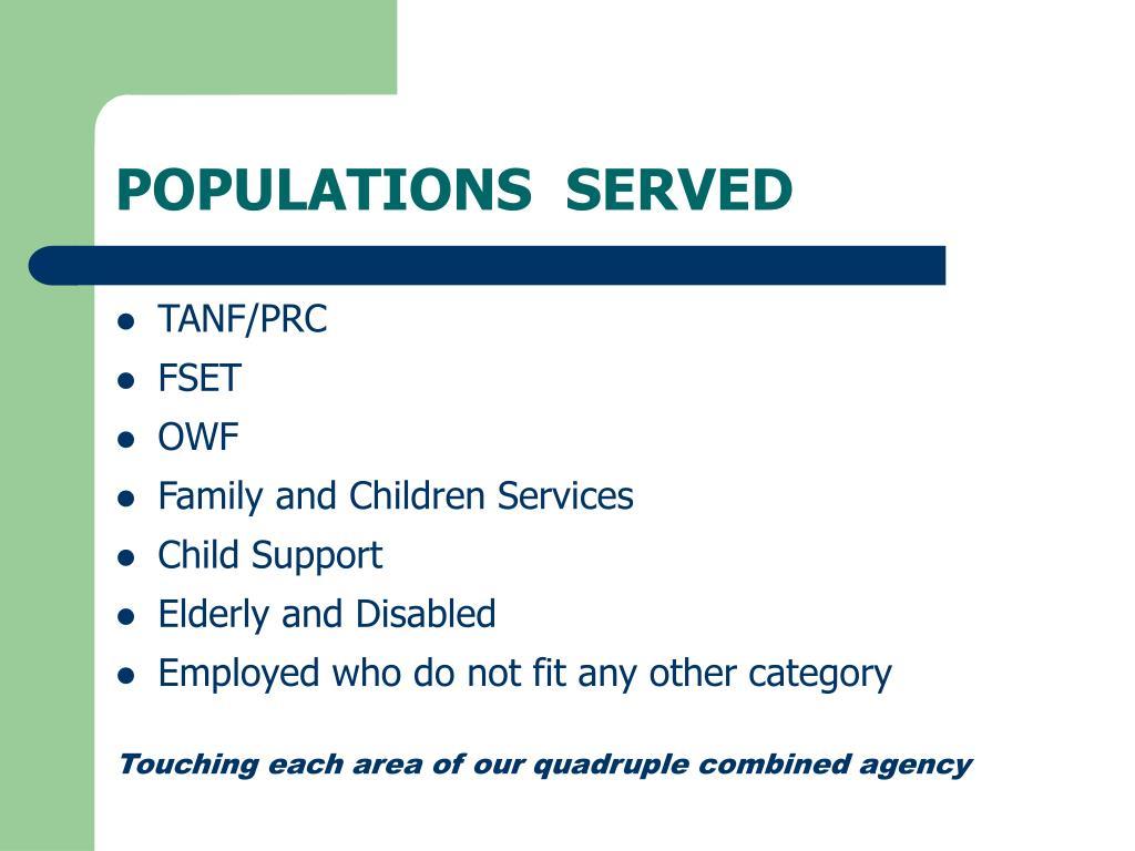 POPULATIONS  SERVED