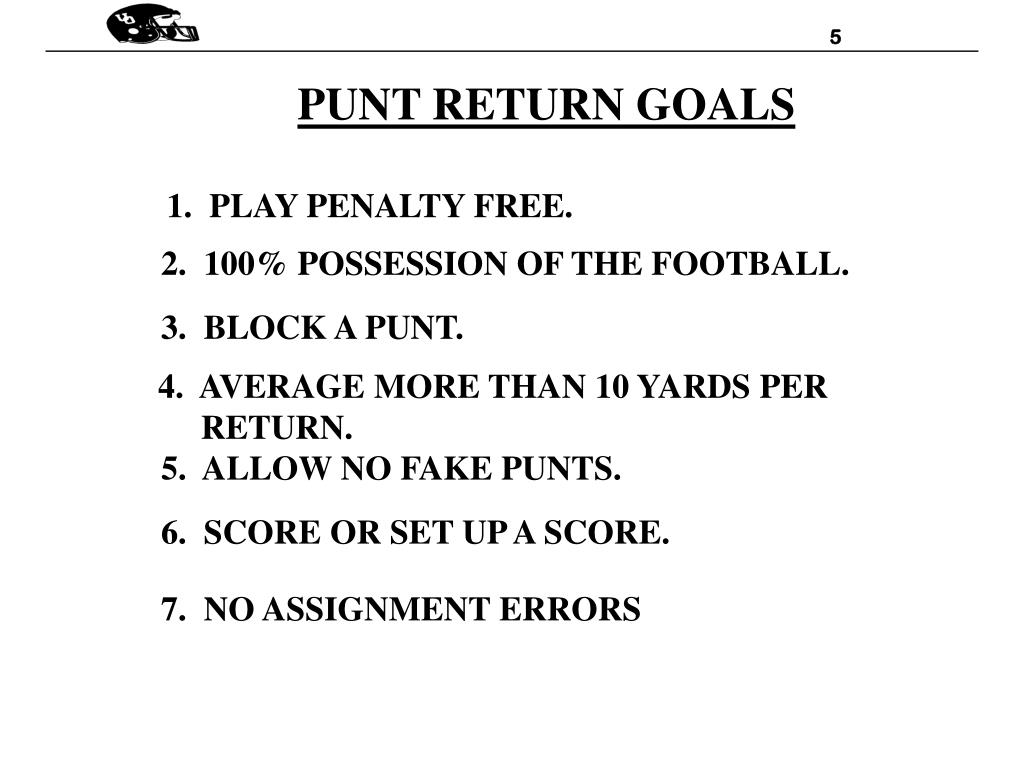 PUNT RETURN GOALS