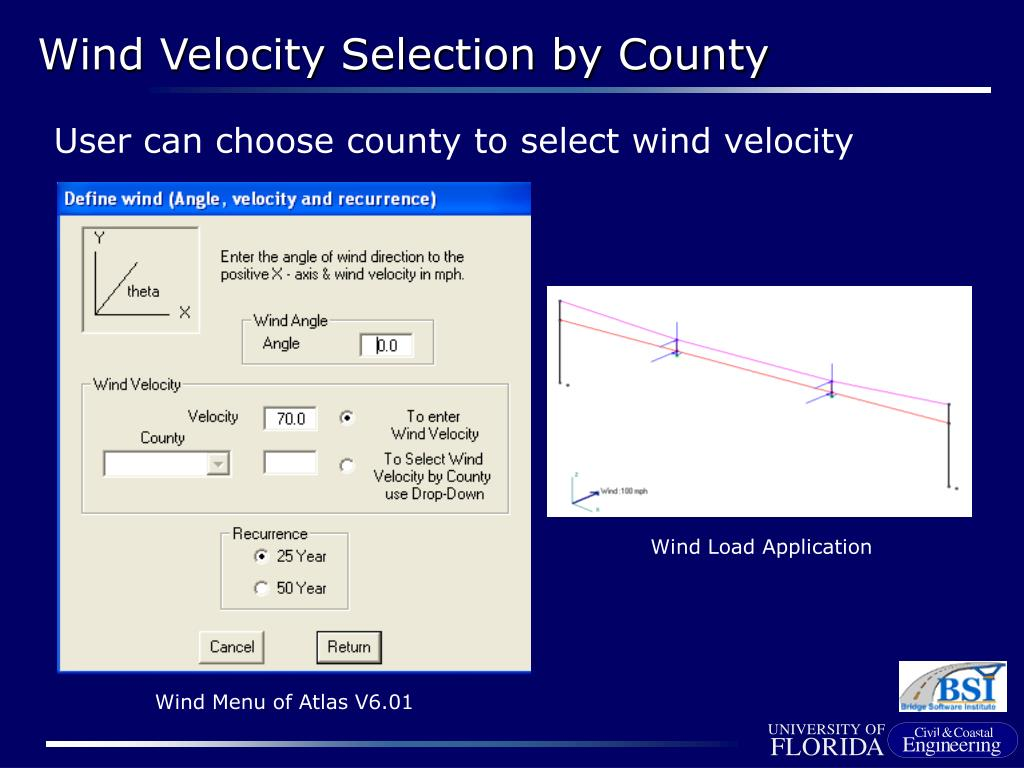 User can choose county to select wind velocity