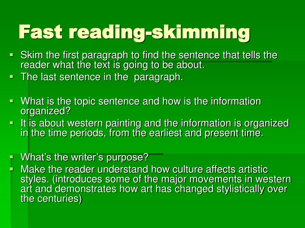 Fast reading-skimming