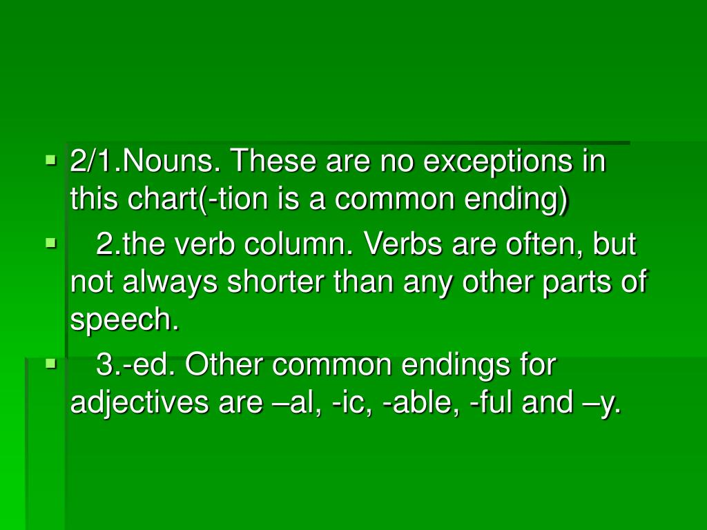 2/1.Nouns. These are no exceptions in this chart(-tion is a common ending)