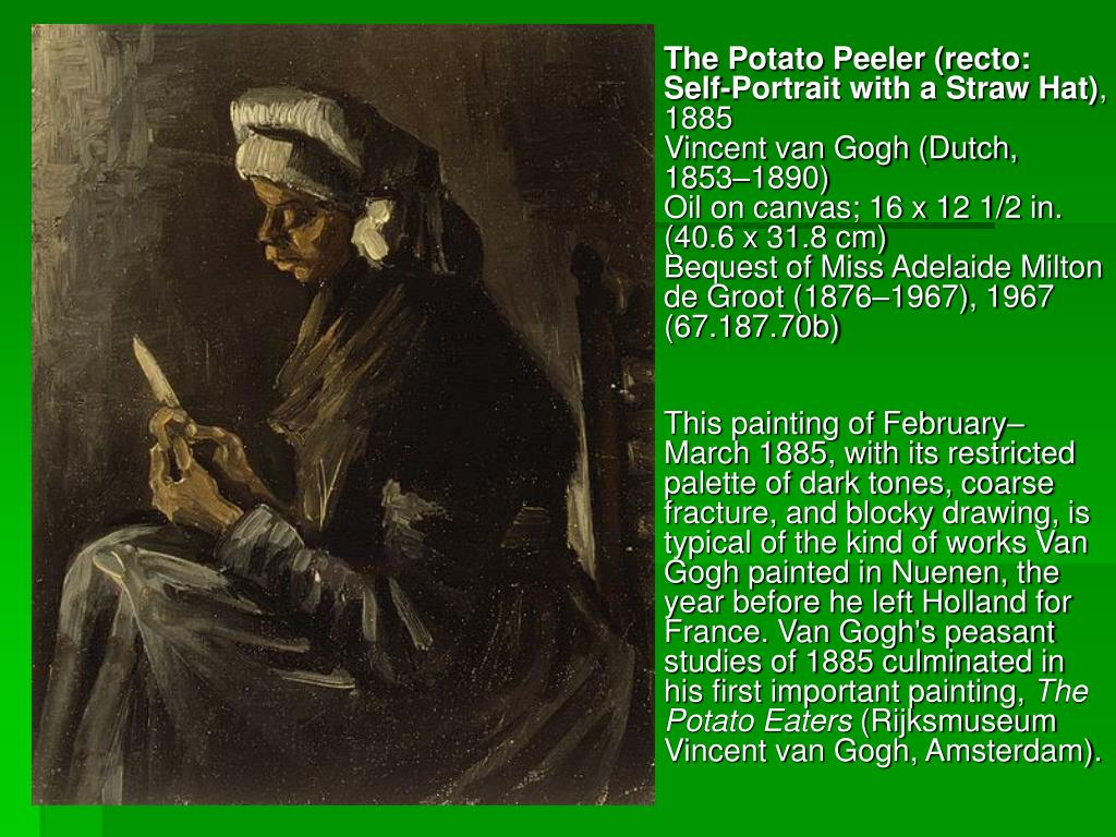 The Potato Peeler (recto: Self-Portrait with a Straw Hat)