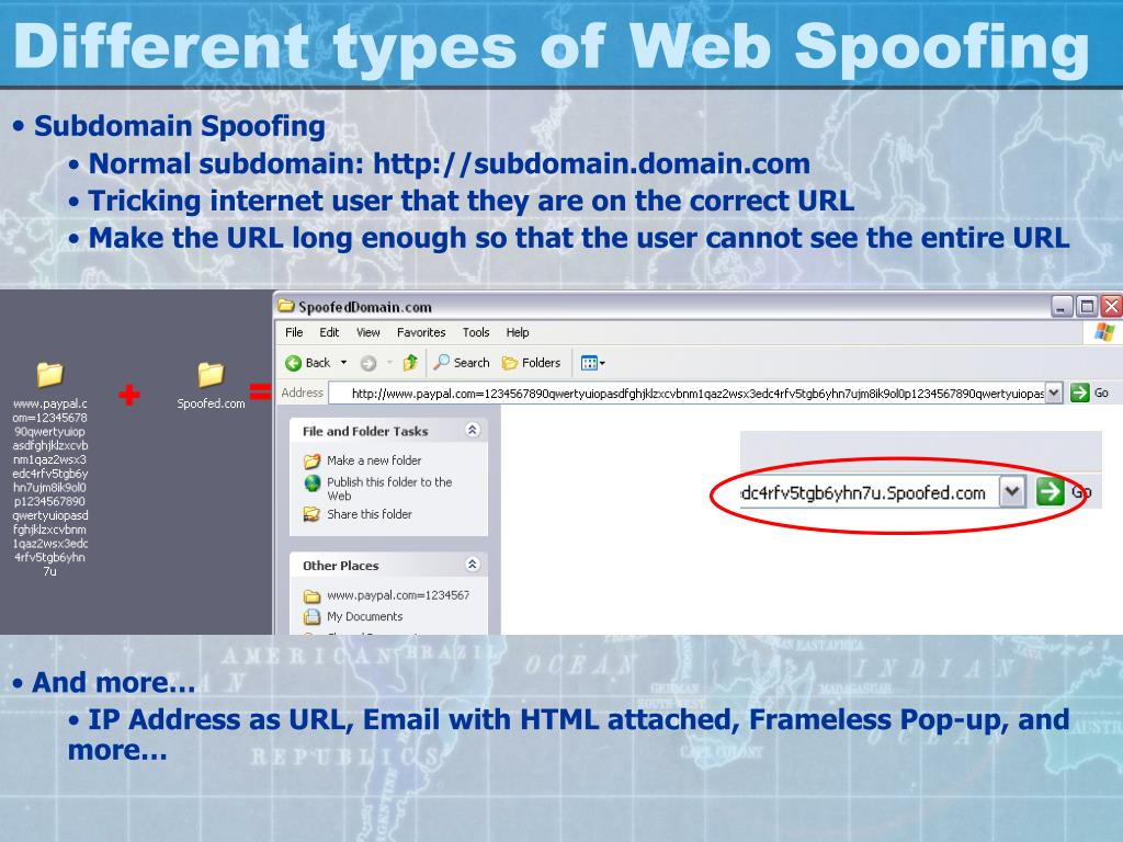 Different types of Web Spoofing