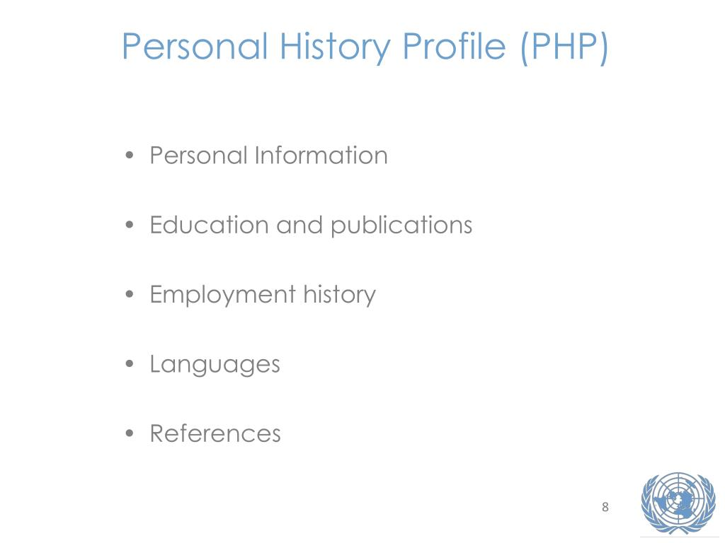 Personal History Profile (PHP)