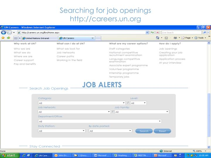 Searching for job openings http careers un org