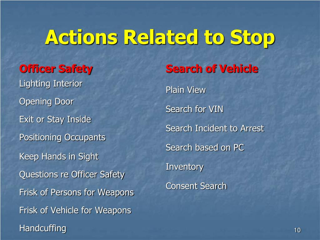 Actions Related to Stop