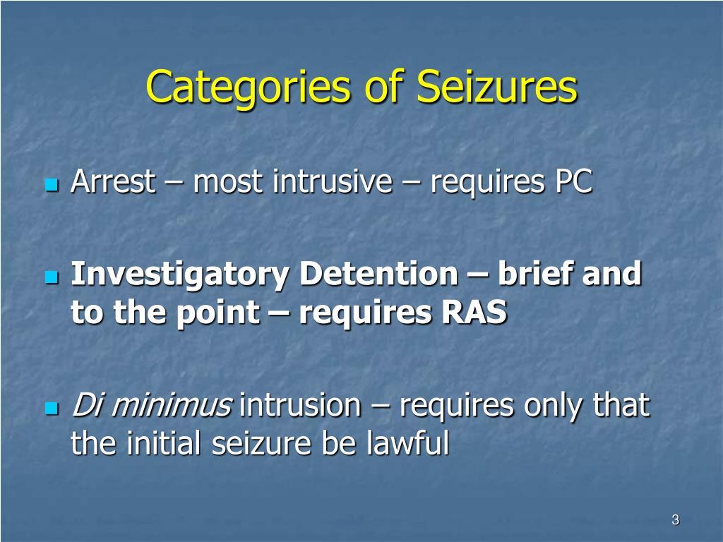 Categories of Seizures