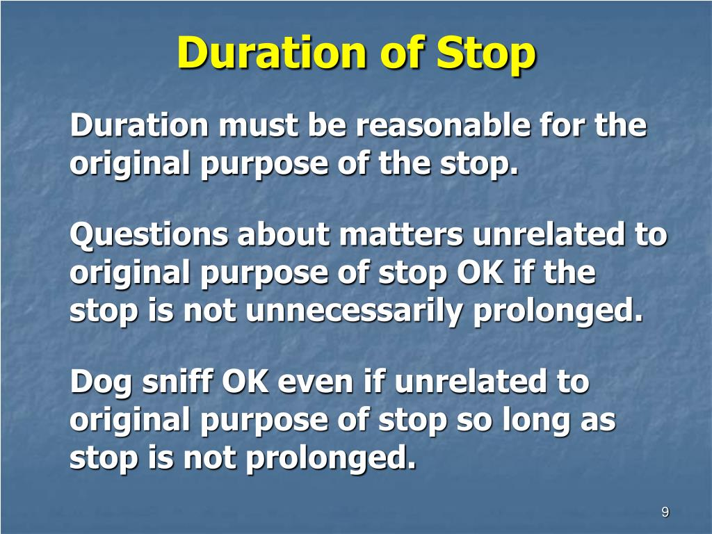 Duration of Stop