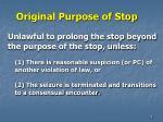 original purpose of stop