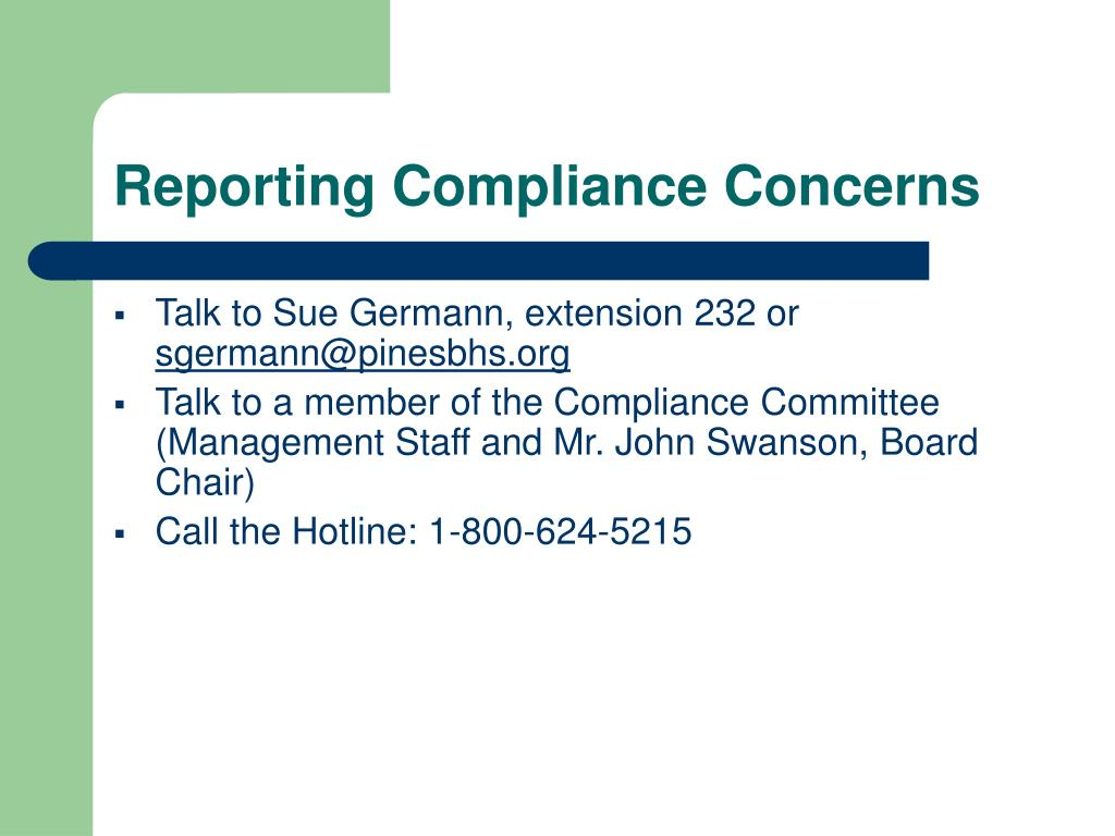 Reporting Compliance Concerns