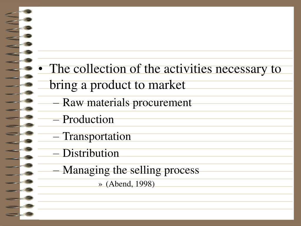 The collection of the activities necessary to bring a product to market