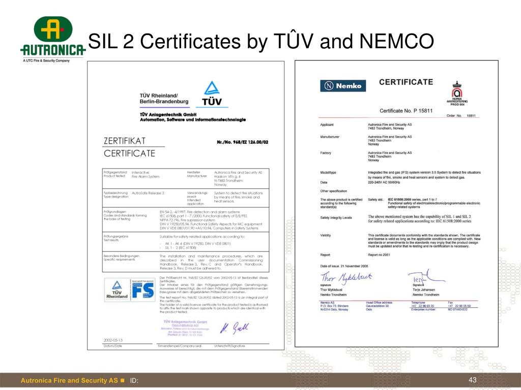 SIL 2 Certificates by TÛV and NEMCO