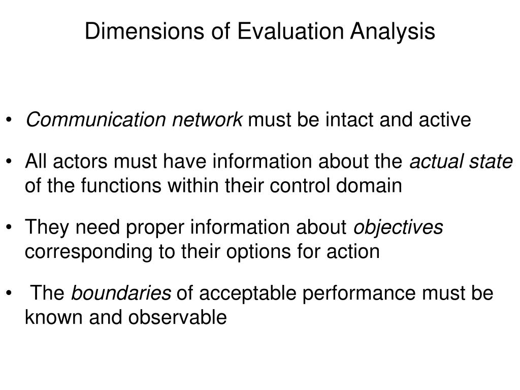 Dimensions of Evaluation Analysis