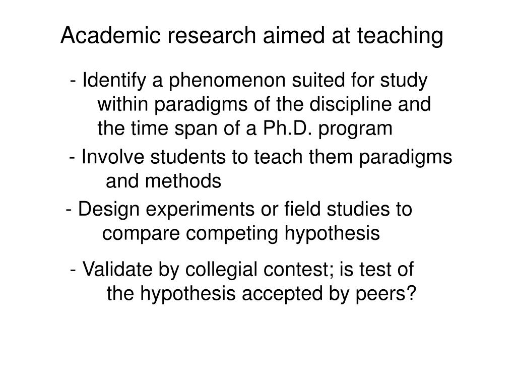 Academic research aimed at teaching