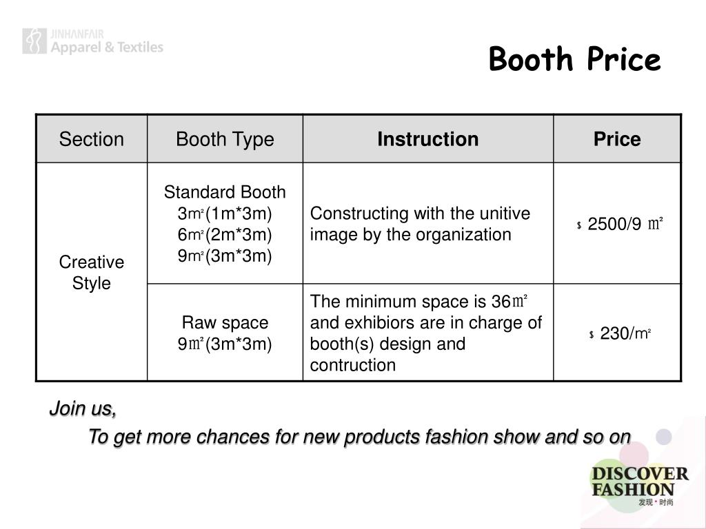 Booth Price