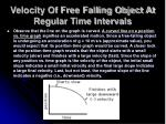 velocity of free falling object at regular time intervals5