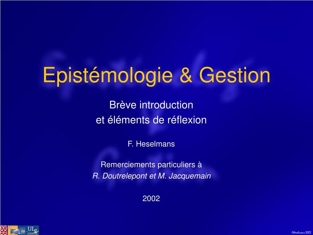 Epistémologie & Gestion