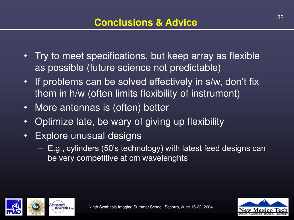 Conclusions & Advice