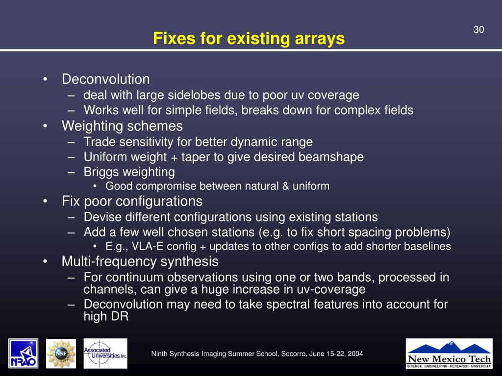 Fixes for existing arrays