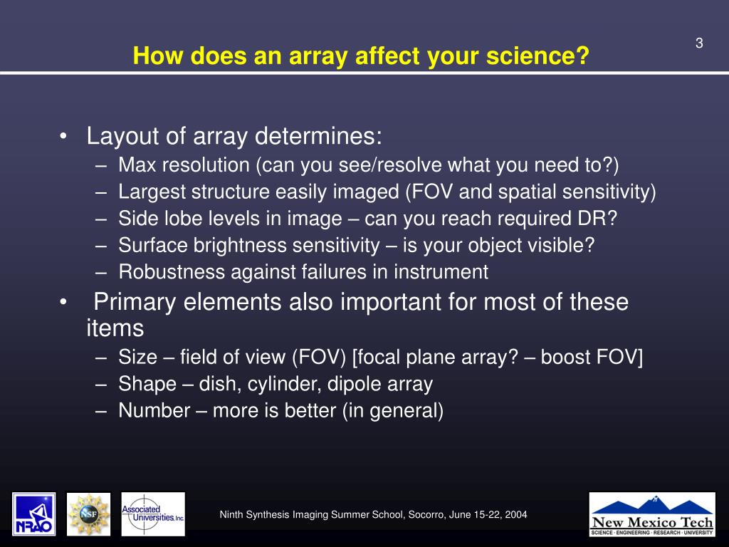 How does an array affect your science?